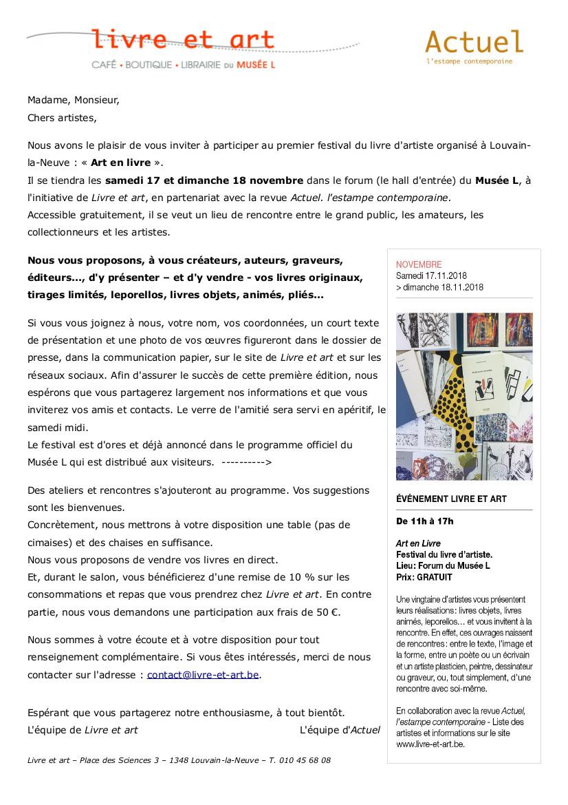 Art en livre - Lettre invitation artistes